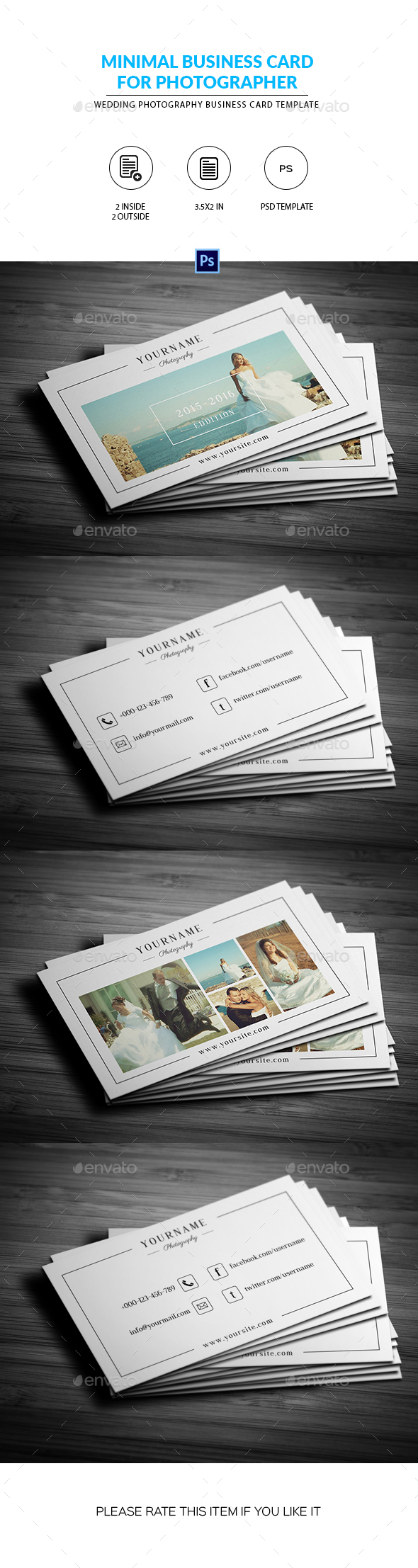 Minimal wedding photography business card by smmrdesign graphicriver minimal wedding photography business card corporate business cards reheart Choice Image
