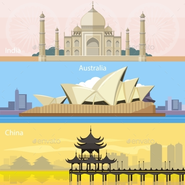 Australian, China and India - Buildings Objects