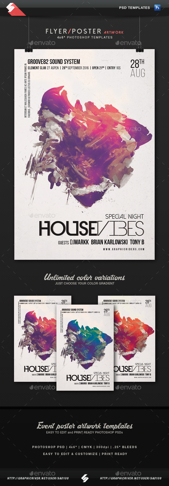 House Vibes - Party Flyer Artwork Template - Clubs & Parties Events