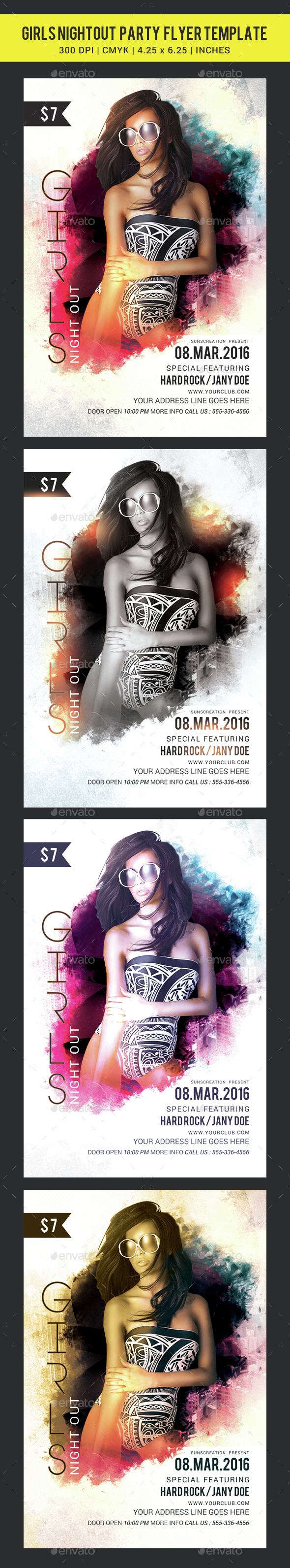 Girls Night Out Flyer template - Clubs & Parties Events