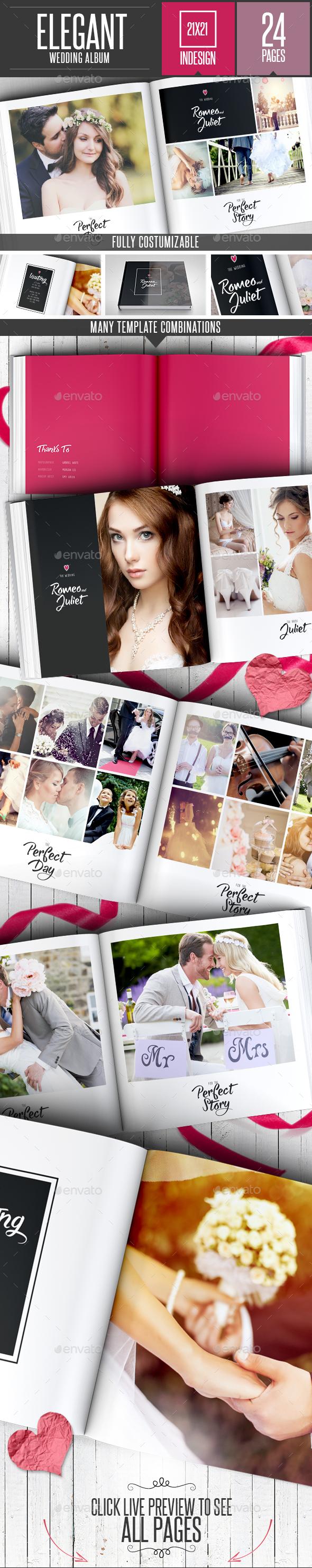 Elegant Wedding Square Photo Album Template - Photo Albums Print Templates