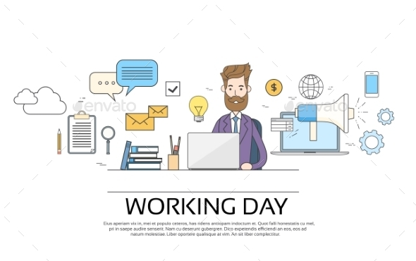 Business Man Working Day Concept Using Laptop - Miscellaneous Conceptual