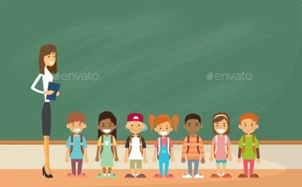 School Children with Teacher - People Characters