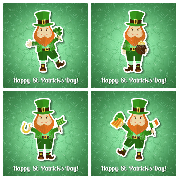 Set of Saint Patrick's Day Cards - Backgrounds Decorative