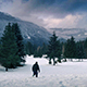 Man Walks Through Deep Snow In Frozen Landscape - VideoHive Item for Sale