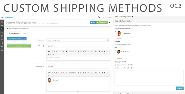 Custom Shipping Methods for OpenCart 2 - CodeCanyon Item for Sale