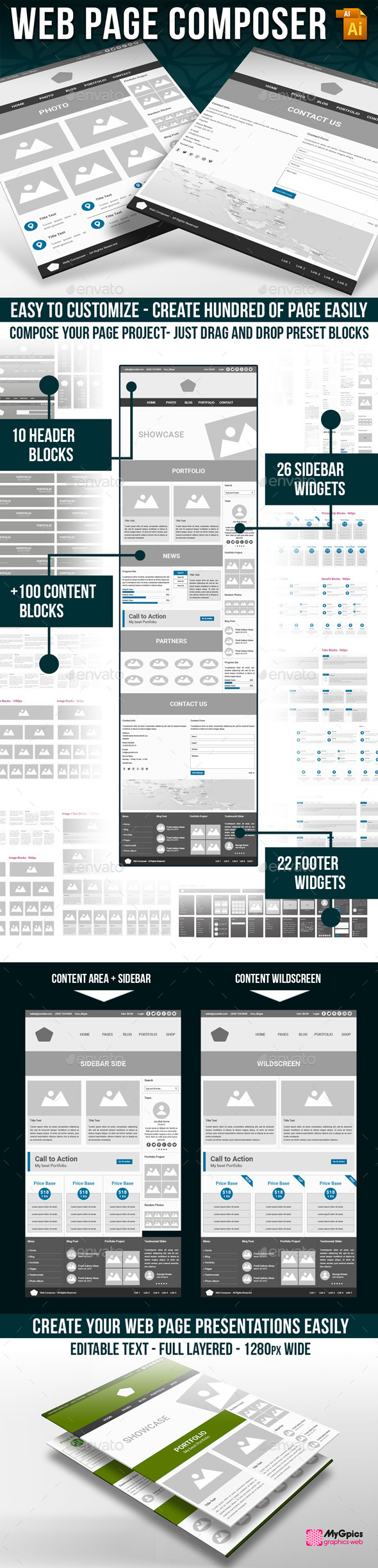 Wireframe Web Kit - User Interfaces Web Elements