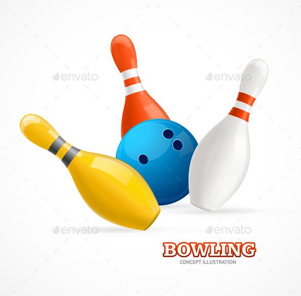 Bowling Ball Crashing Into The Pins - Sports/Activity Conceptual