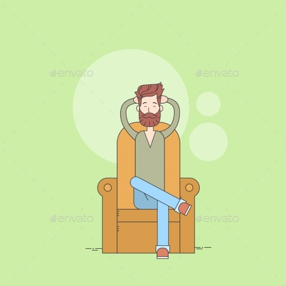 Bearded Man Sitting In Armchair Relaxing - People Characters