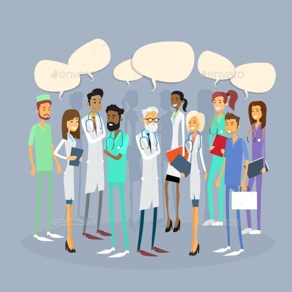 Group Medial Doctors Team Chat Bubble - Health/Medicine Conceptual