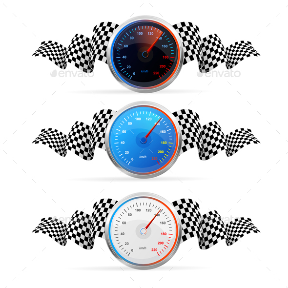 Racing Flag Set with Speedometer - Sports/Activity Conceptual