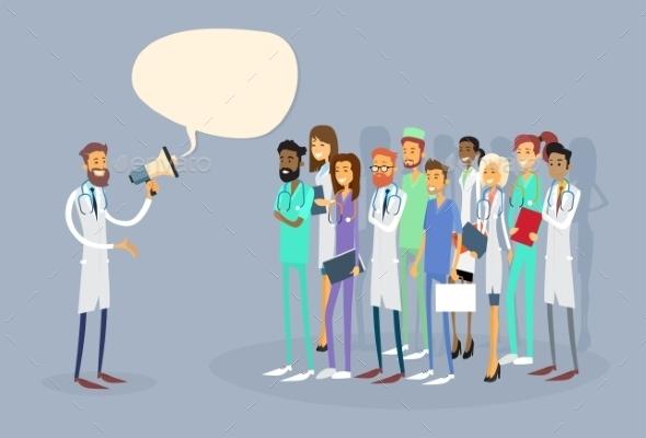 Medical Doctor Holding Megaphone - Health/Medicine Conceptual