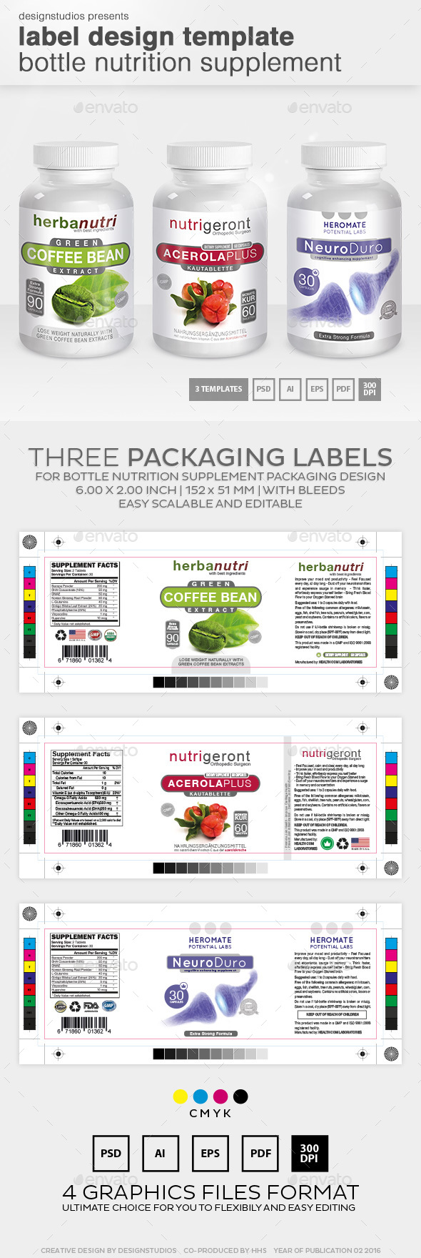 Label Design Template Bottle Nutrition Supplement by designstudios
