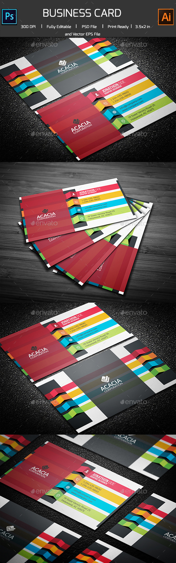 ROYGBIV Colorful Business Card  - Corporate Business Cards