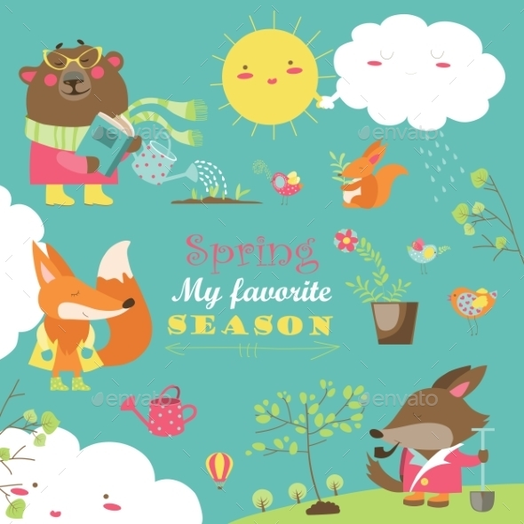Set Of Cartoon Characters And Spring Elements - Animals Characters