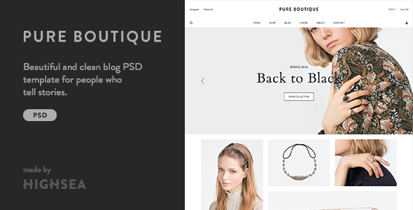Pure – Accessories WooCommerce PSD Template