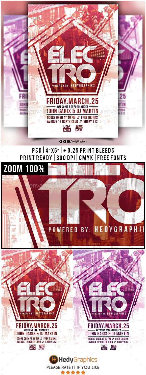 Electro - Flyer Template - Clubs & Parties Events