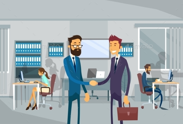 Two Businessman Shake Hand, Business Man - People Characters