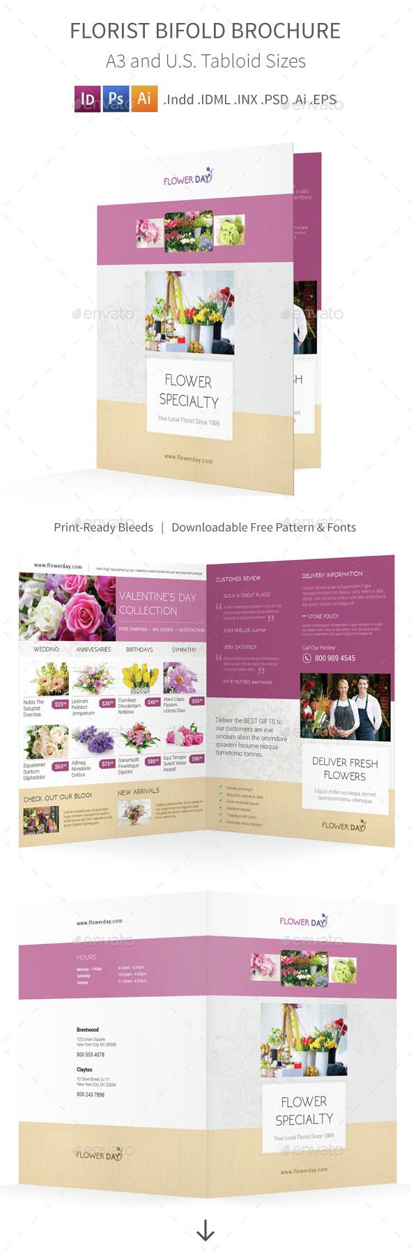 Florist Bifold / Halffold Brochure 2 - Informational Brochures