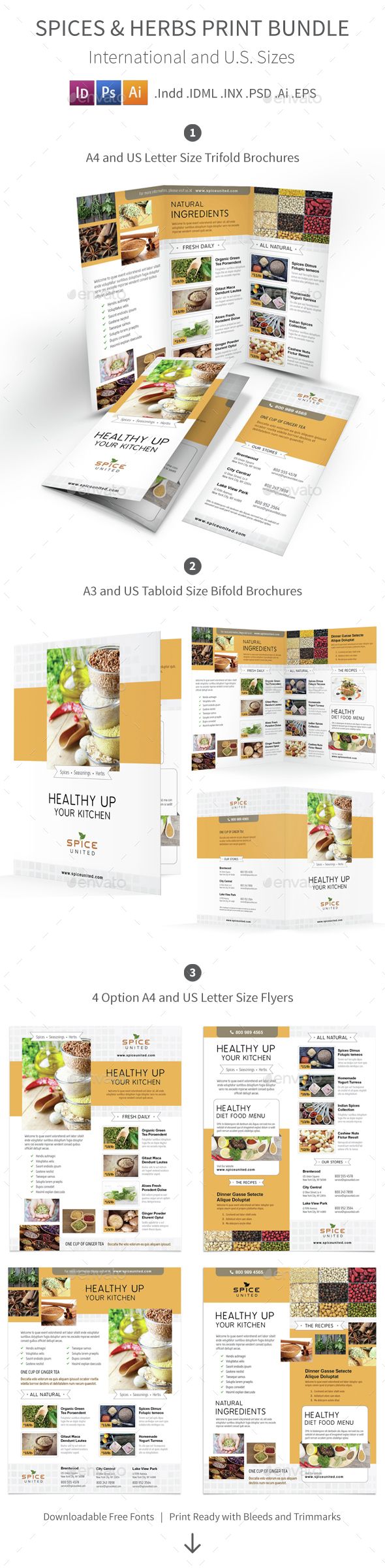 Spices and Herbs Print Bundle - Informational Brochures