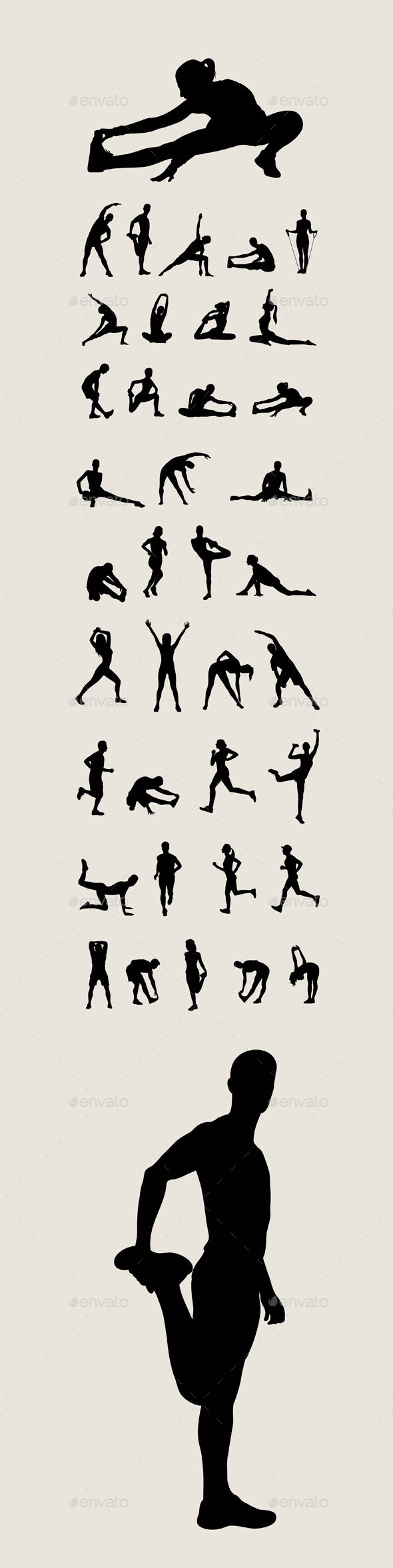 Stretching Silhouettes - Sports/Activity Conceptual