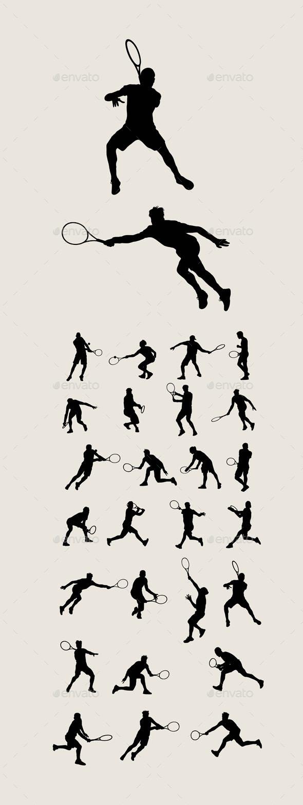 Man Tennis Silhouettes - Sports/Activity Conceptual