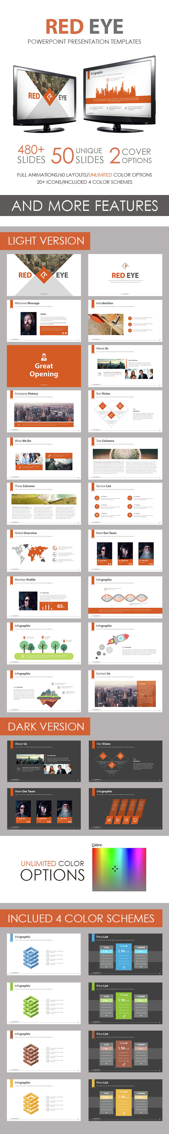 Red Eye PowerPoint Template - Business PowerPoint Templates