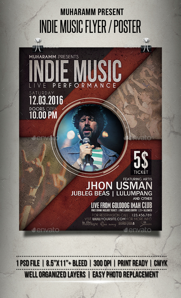 Indie Music Flyer / Poster - Events Flyers