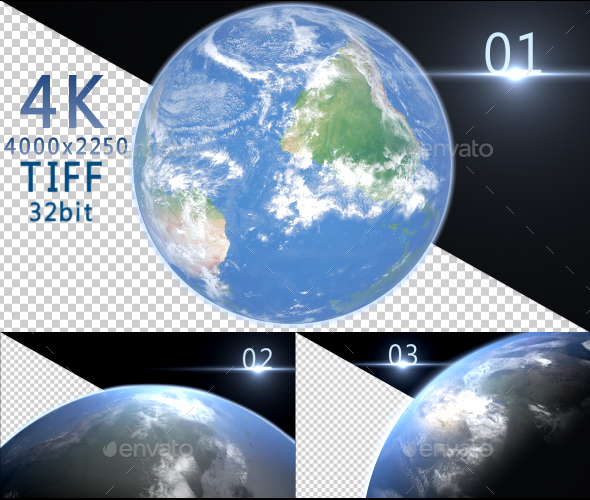 4K Earth Space Alpha 3 Images  - 3D Backgrounds