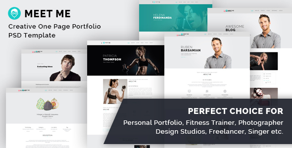 Meet Me – One Page Creative Portfolio PSD Template