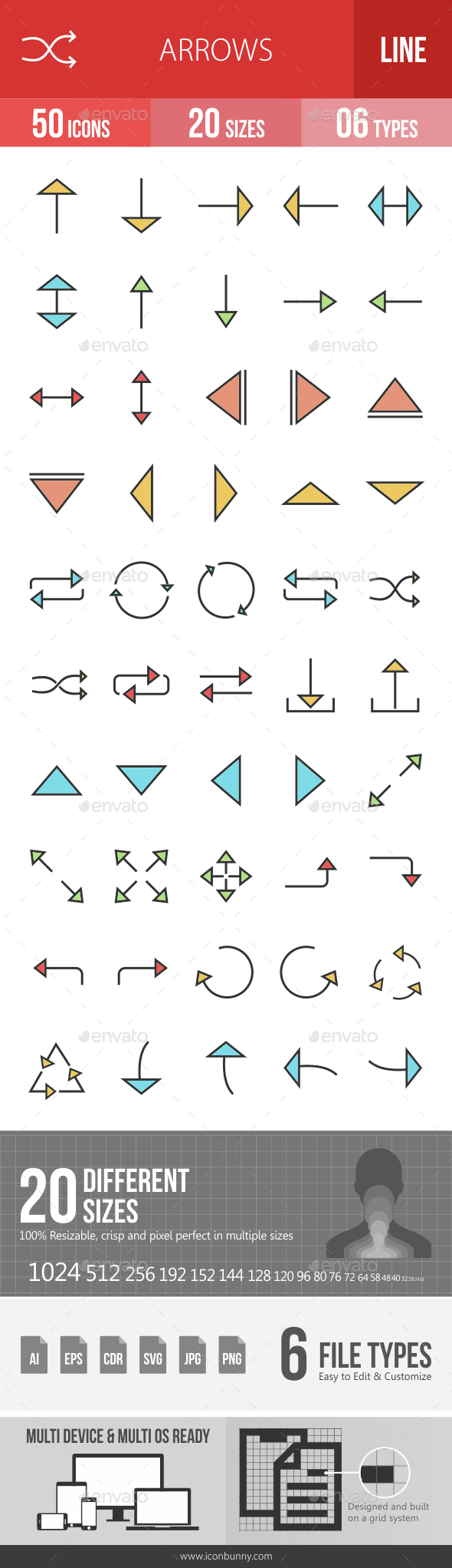Arrows Filled Line Icons - Icons