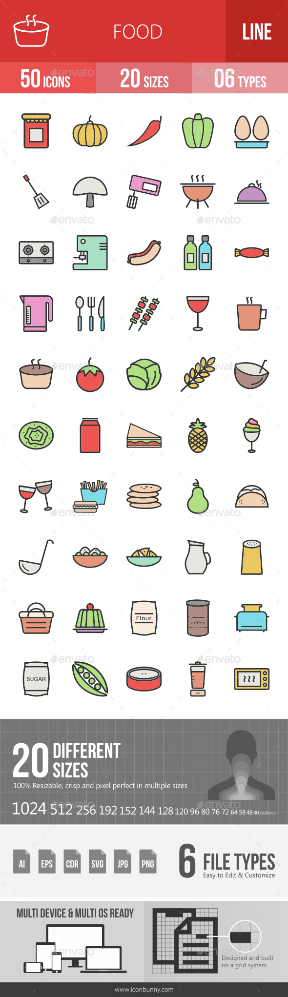 Food Filled Line Icons - Icons