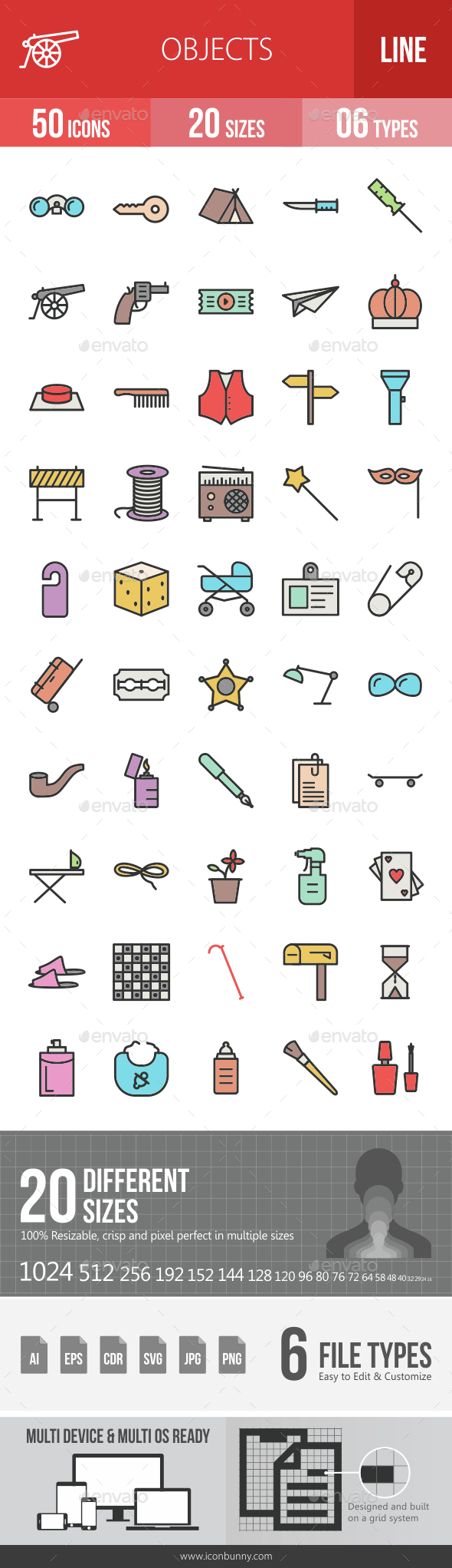Objects Filled Line Icons - Icons
