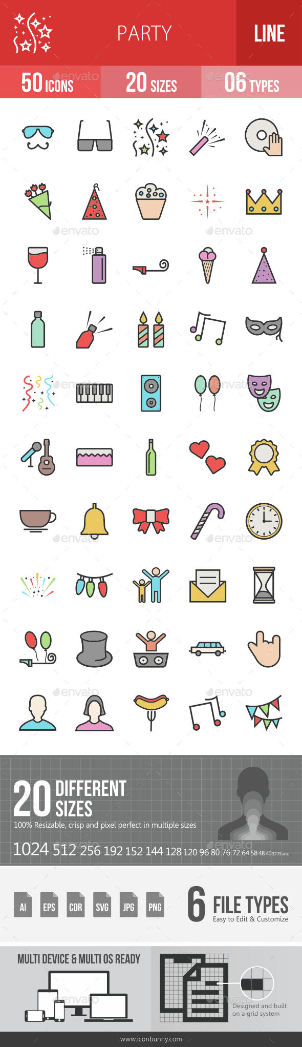 Party Filled Line Icons - Icons