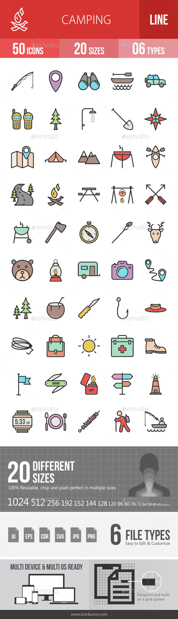 Camping Filled Line Icons - Icons