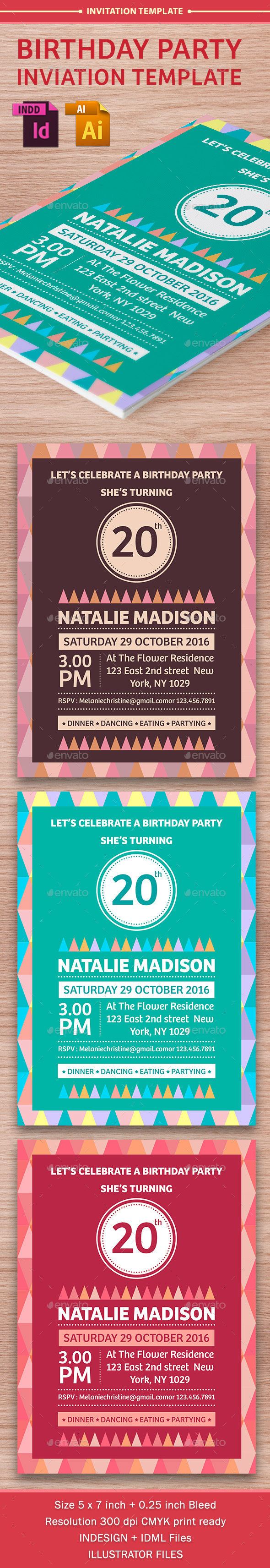 Birthday Party Invitation Template - Vol . 8 - Cards & Invites Print Templates