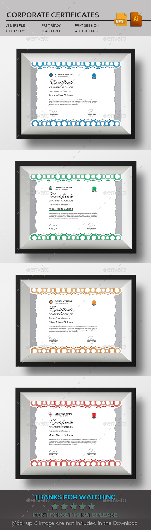 Corporate Certificate - Stationery Print Templates