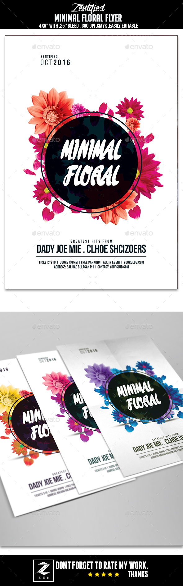 Minimal Floral Flyer - Clubs & Parties Events