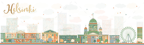 Abstract Helsinki Skyline with Color Buildings, Finland. - Buildings Objects