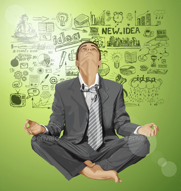 Vector Businessman in Lotus Pose Meditating - Business Conceptual