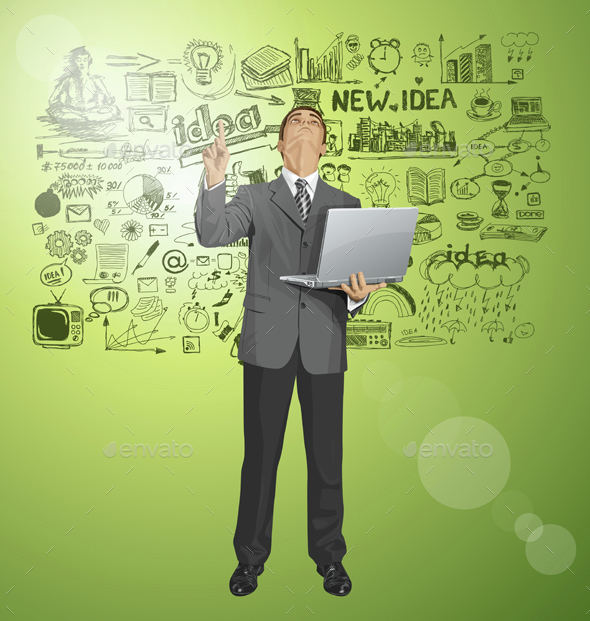 Vector Business Man Shows Something With Finger - Business Conceptual