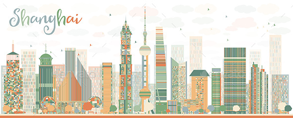 Shanghai Skyline with Blue and Brown Skyscrapers. - Buildings Objects