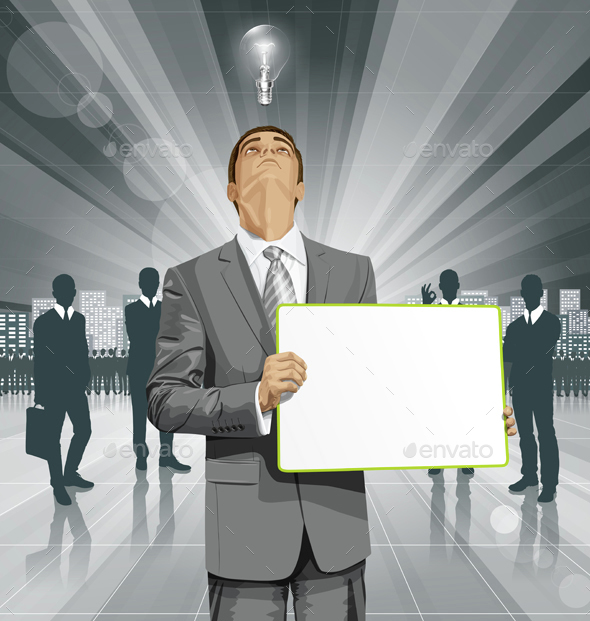 Vector Business Man with Empty Write Board - Business Conceptual
