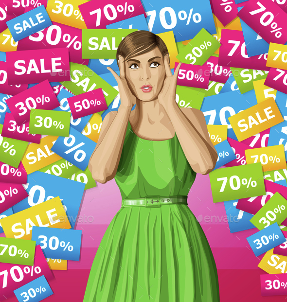 Vector Surprised Girl in Dress - Commercial / Shopping Conceptual