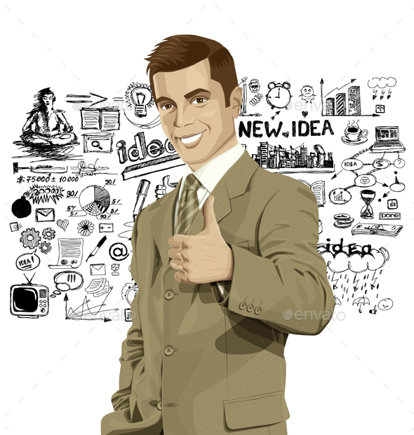 Vector Business Man Shows Well Done - Business Conceptual