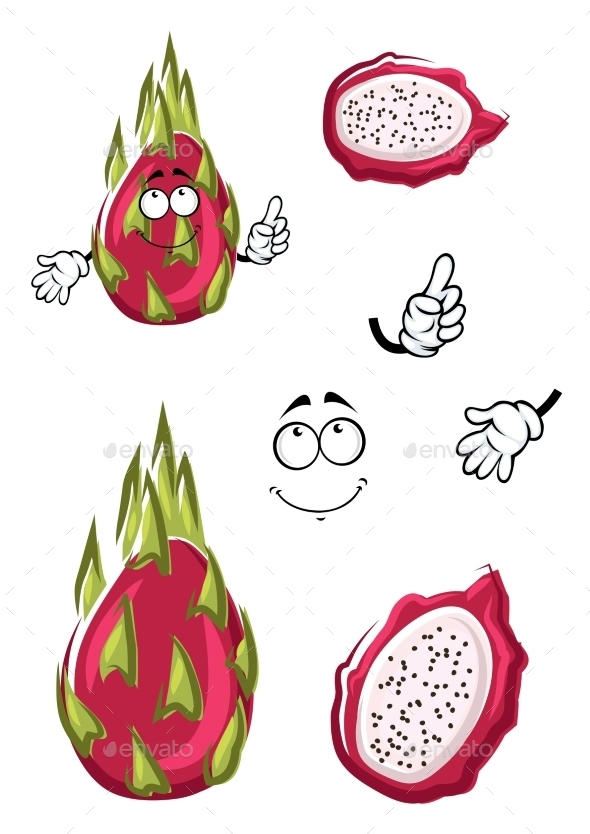 Cartoon Pink Pitaya Or Dragon Fruit  - Food Objects