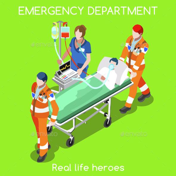 Hospital 22 People Isometric - Health/Medicine Conceptual