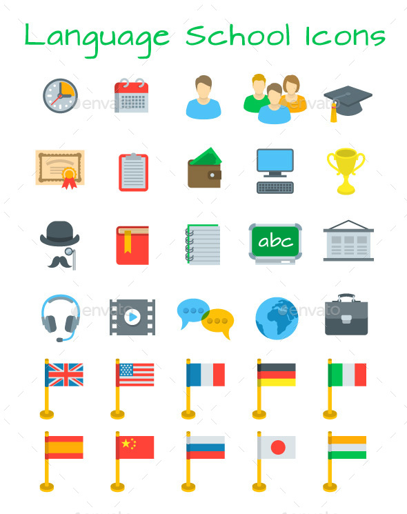 Language School Flat Education Icons Set - Miscellaneous Icons