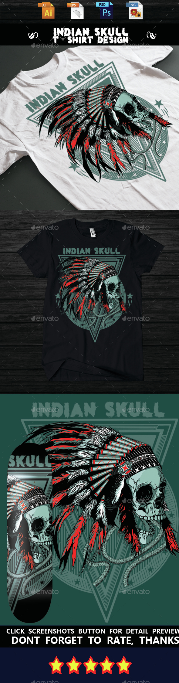Indian Skull T-shirt design - T-Shirts