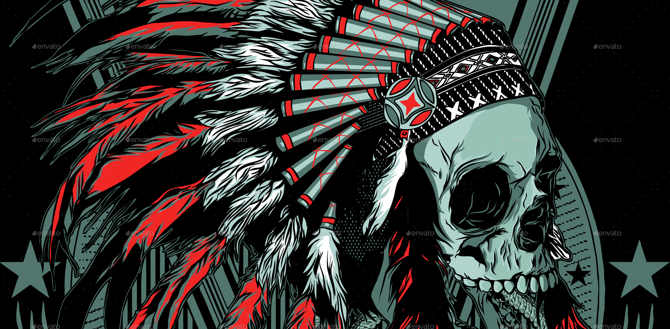 Indian Skull T Shirt Design By Azieescansee Graphicriver